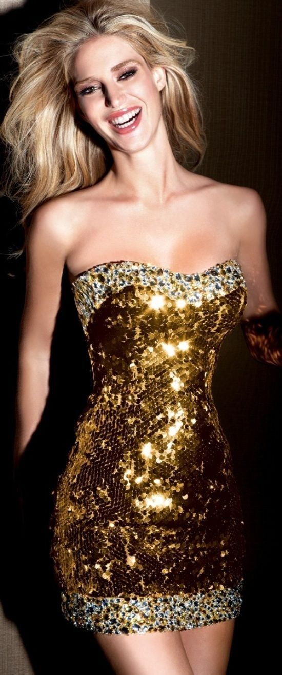 Sparkling Gold Sequin Tube Dress for 2015 New Year - New Year ...