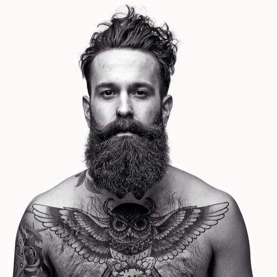 very full thick dark beard and big mustache beards bearded man men mens' style bushy tattoos tattooed chest tattoo owl owls hairy handsome #beardsforever