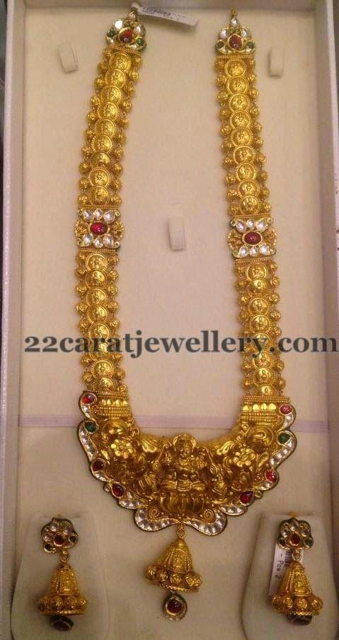 Jewellery Designs: Kundan Motifs Placed Kasu Mala