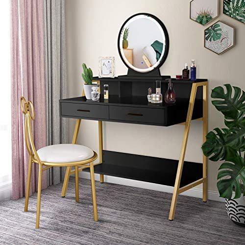 Lynslim Gold Vanity Set With Touch Screen Dimming Mirror 3 Color Lighting Modes Black Makeup Table In 2020 Black Bedroom Decor Black Makeup Table Black Vanity Table
