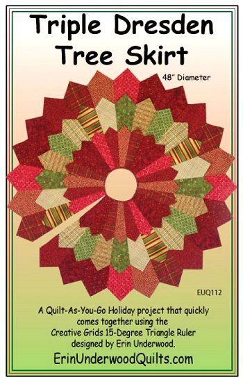 Triple Dresden Tree Skirt Pattern: Quilted Tree Skirt Pattern, Quilting Dresden, Dresden Plate Patterns, Christmas Quilting, Tree Skirt Patterns, Christmas Quilts, Christmas Tree Skirts Patterns, Tree Skirt Pattern Sewing