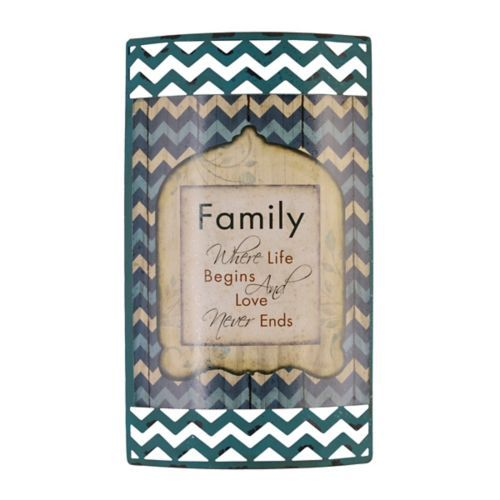 Where Life Begins Metal Sign | Kirklands-Family-where life begins and love never ends-sale- $6- 8L x 1.5W x 14H in.