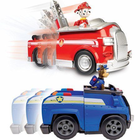 Paw Patrol - Chase;s Deluxe Cruiser ; On a Roll Marshall, Figures and Vehicles with Sounds, Red