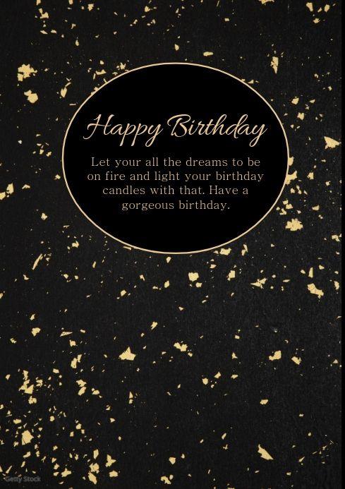 Happy Birthday Card Gold Black Greeting Wish Happy Birthday Posters Birthday Poster Happy Birthday Cards
