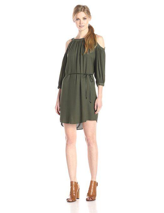 Ella moss Women's Stella Cold Shoulder Dress, Moss, Small
