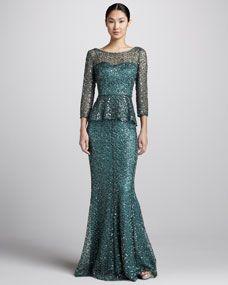 Metallic Lace Peplum Blouse & Metallic Lace Mermaid Skirt