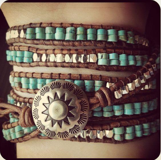 Western Turquoise Beaded Leather Wrap Bracelet, Southwestern Leather Bracelet, Bohemian Beach bracelet, 6X Wrap