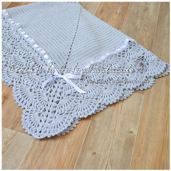 Crochet Patterns Christening Shawls : GRAY Christening Baby crochet blanket Baby by ...