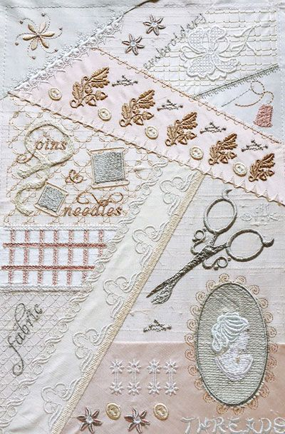 Romantic Crazy Quilt with a vintage sewing theme.: