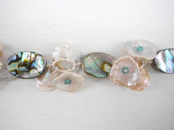 Bracelet Wedding Bracelet abolone bracelet beach by Perriewinkles