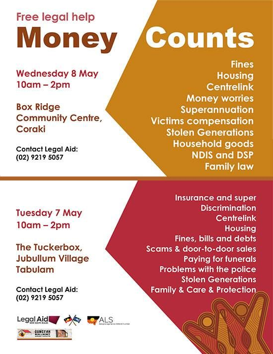 If You Need Help With Money Worries Or Legal Issues And Live In The Richmond Valley Or Clarence River Region Come And See Us On Tues 7 May 10am 2pm At The Tucke