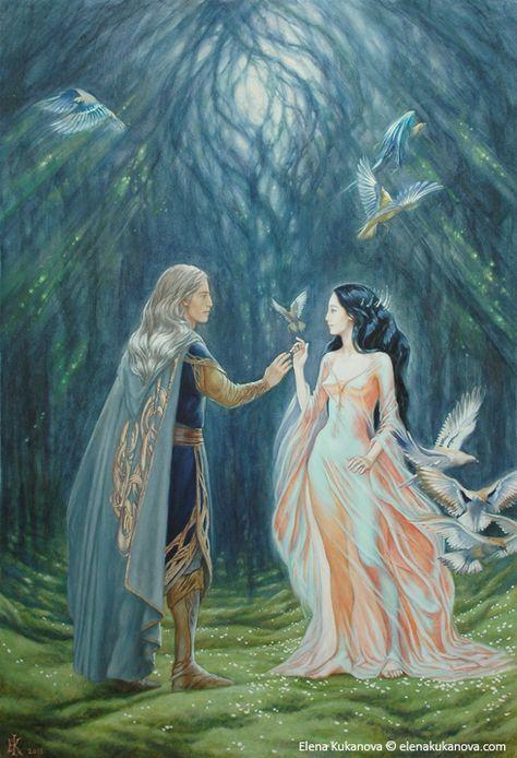 Elwe (Thingol) and Melian. Elwë fue el único de los sindar contados entre los calaquendi, pues si que vio la luz de los Dos Árboles de Valinor al marchar como embajador de los teleri a Aman. Tras iniciar la marcha de los teleri hacia Valinor, Elwë conoció a Melian, la maia, en el bosque de Nan Elmoth, realizando de inmediato un hechizo que los mantuvo uno frente al otro durante largos años