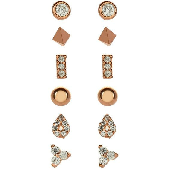 Accessorize Rose Gold 12X Eclectic Stud Earring Set ($33) ❤ liked on Polyvore featuring jewelry, earrings, accessorize jewelry, geometric jewelry, geometric earrings, pink gold earrings and sparkle jewelry