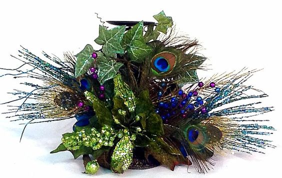 Peacock Centerpiece Floral Arrangement Candle Holder Christmas Holiday Wedding Reception by Cabin Cove Creations. $75.00, via Etsy.