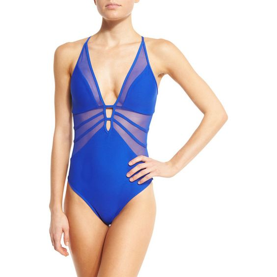 JETS by Jessika Allen Aspire Mesh-Insert Plunging One-Piece Swimsuit (£190) ❤ liked on Polyvore featuring swimwear, one-piece swimsuits, oceanic, criss cross one piece bathing suit, one piece bathing suits, 1 piece bathing suits, plunge swimsuit and criss cross swimsuit