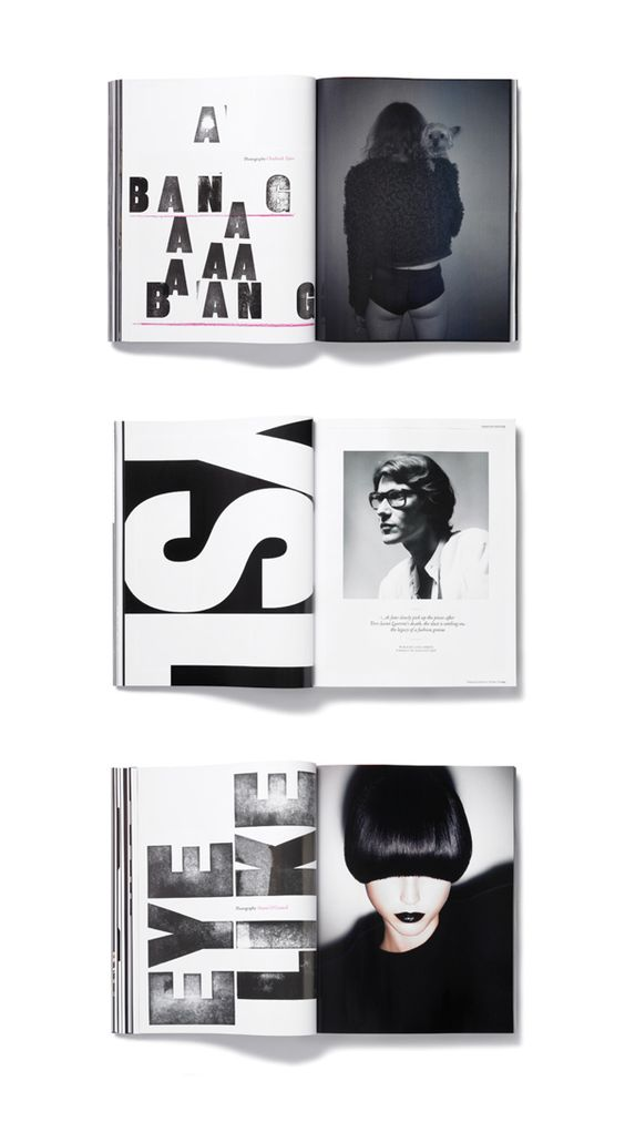 #EditorialDesign I like how on the middle one the left page is covered with the design. It fills the page and especially with a white page it looks attractive. Very simple idea