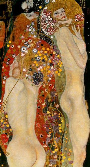 Gustav Klimt, Sea Serpents - Me faite penser au poème de Verlaine, Mon rêve familier: