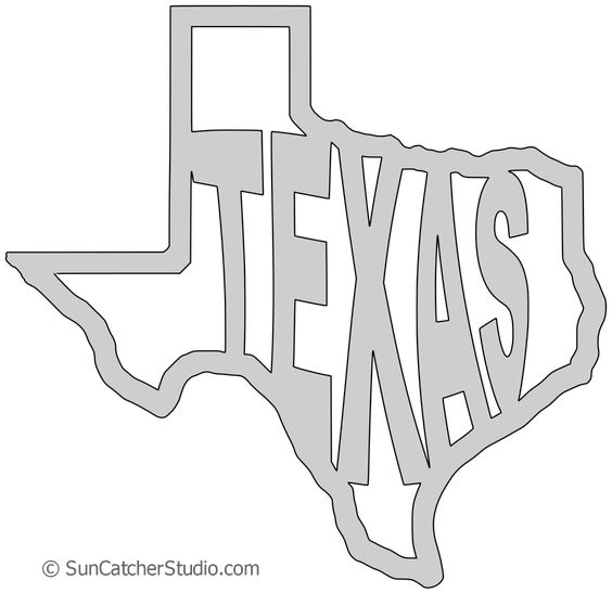 Texas Map Outline Printable State Shape Stencil Pattern