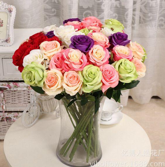 US $14.19 New Artificial Fake Silk Circle Center Rose Flower Bouquet For Home Wedding Decor Table Centerpieces Decoration 10pcs/lot
