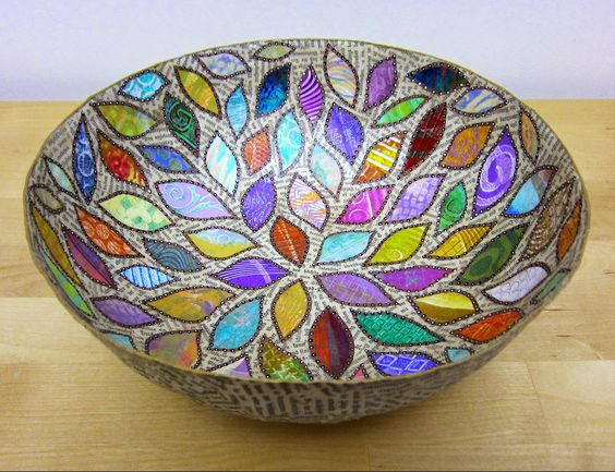 Paper mache bowls with gelli prints to decorate bowls for Paper mache objects