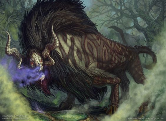 """CATOBLEPAS is said to have the body of a buffalo and the head of a wild boar. Its back has scales that protect the beast, and its head is always pointing downwards due to its head being heavy. Its stare or breath could either turn people into stone, or kill them. The catoblepas is often thought to be based on real-life encounters with wildebeest, such that some dictionaries say that the word is synonymous with """"gnu""""."""
