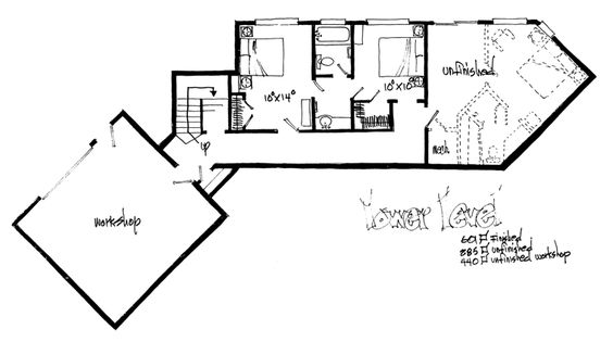 Lower Floor Plan of Cabin   Log   House Plan 43218