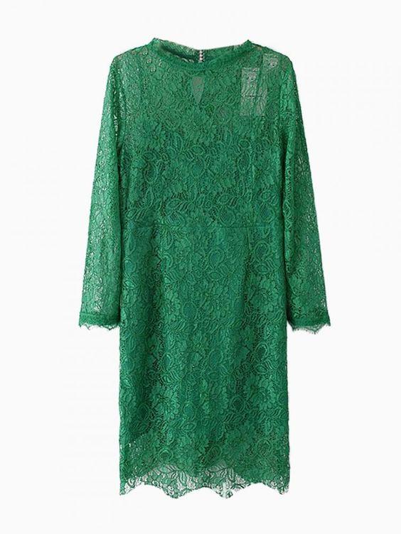 Green Lace Throughout Shift Dress - Choies.com