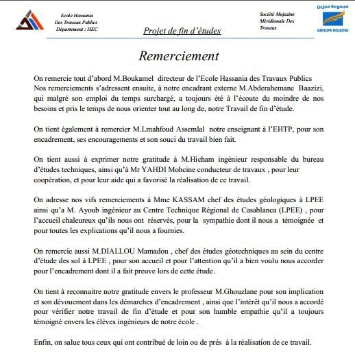 Remerciement Rapport De Projet De Fin D Etude Pdf Rapport De Projet Modele De Remerciement Remerciement Rapport
