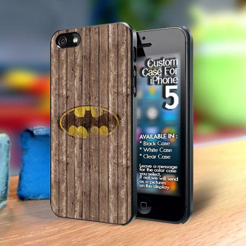 Batman retro prin on wood Iphone 5 case | TheYudiCase - Accessories on ArtFire