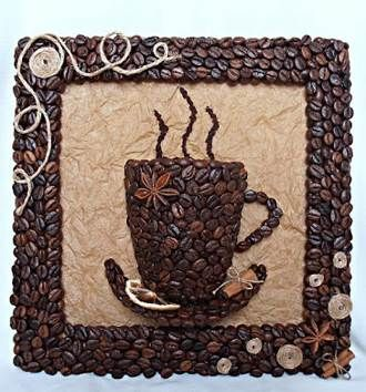 DIY 3D Coffee Cup Picture Decor with Coffee Beans