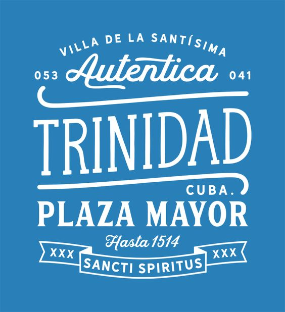 Vintage logo badge of Trinidad in Cuba in the original colonial colors blue and yellow