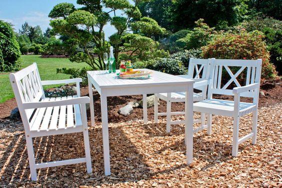 Gartentisch Malmo Eukalyptusholz 165x80 Cm Weiss Gartentisch