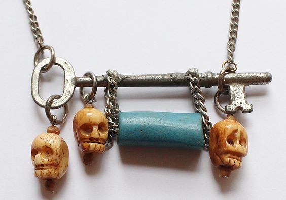 Antique Skeleton Key, Carved Bone Skull Pendant Necklace by paststore on Etsy