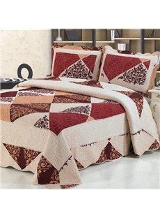 Red Checks Printing Quilting Process Cotton Bed