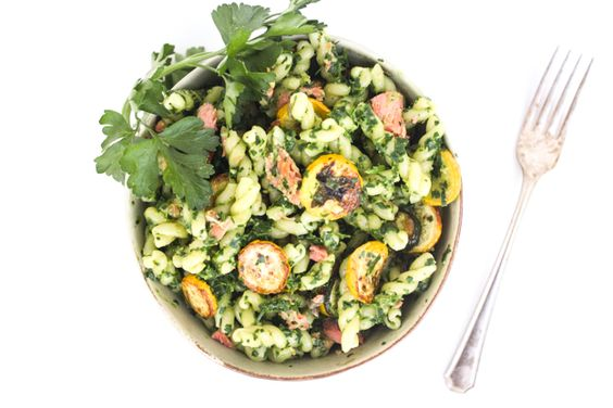 Miso Parsley Pesto Pasta with Smoked Salmon and Summer Squash | Recipe ...