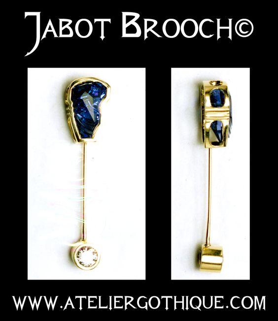Jabot Brooch© - Fine Custom Gothic Alternative Gold Sapphire White Diamond Jewelry