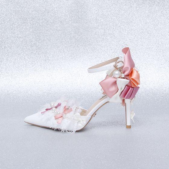 Uroczy Kosc Sloniowa Bal Buty Damskie 2020 Z Koronki Perla Kokarda Z Paskiem 9 Cm Szpilki Szpiczaste Wysokie Obcasy High Heel Pumps High Heels Heels