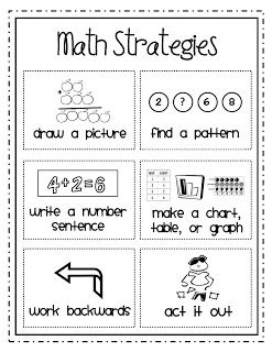 Math problem solving strategies. These would be a good addition to a math journal.