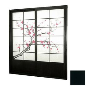 Oriental Furniture Cherry Blossom 2-Panel Black Indoor Privacy Screen