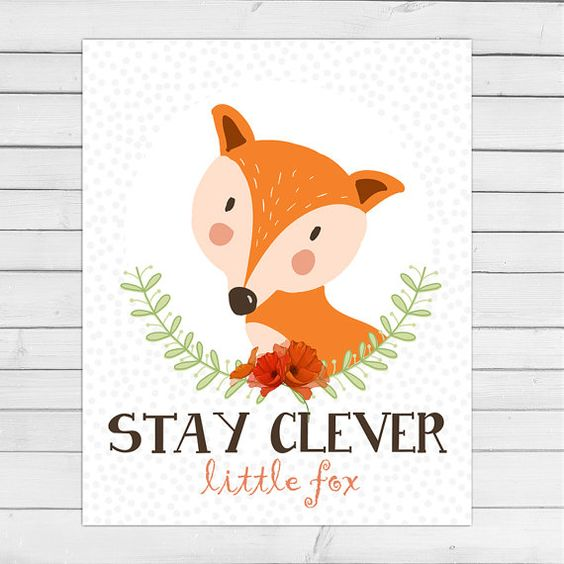 Fox nursery wall art Woodland nursery art von Anietillustration