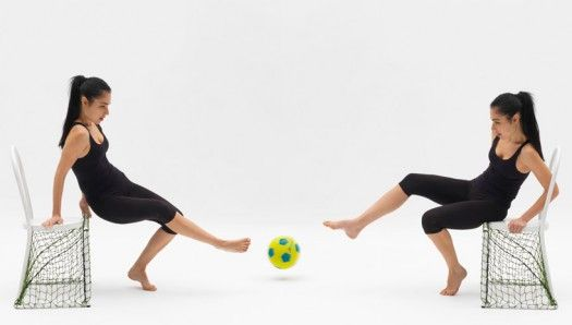 """Lazy Football by Emanuele Magini. """"Vous voulez rire?"""" /Are you kidding ? Curator : Benjamin Girard/agence Design Project - Scenography : 5.5 Designers - Biennale Internationale Design Saint Etienne."""