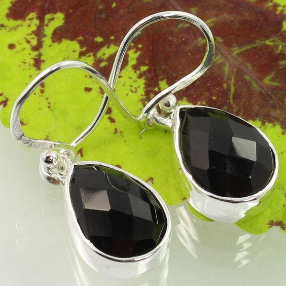 Stunning Earrings 925 Sterling Silver Genuine BLACK ONYX Pear Checker Gemstones #SunriseJewellers #DropDangle