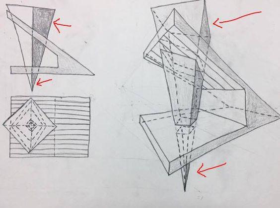 الامتداد السفلي والعلوي للهرم بالنسبة لمستوي القطع المائل والافقي، يجب ان تكون مرسومة بخط نحيف، لانها ليست خطوط فعلية: