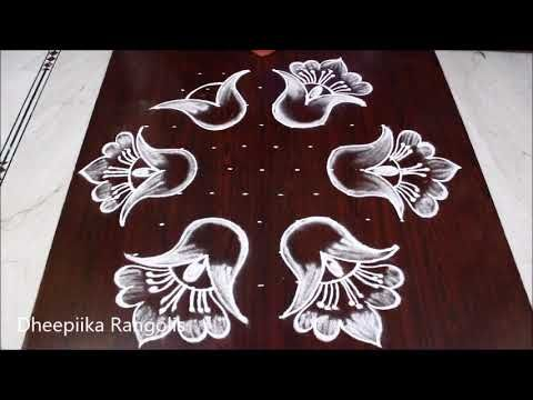 Beautifull N Attractive Flowers Rangoli Design With 11x6 Dots Pulli Kolam Design Easy Muggulu Kolam Designs Rangoli Border Designs Colorful Rangoli Designs