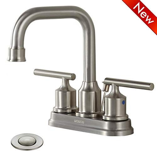Wowow Bathroom Faucet 2 Handle Brushed Nickel 4 Inch Sink Faucet Two Handle Lead Free Stainless Steel High With Images Sink Faucets Bathroom Sink Faucets Bathroom Faucets