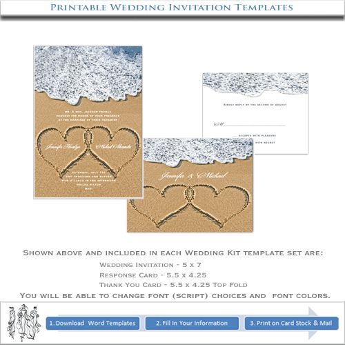 Printable Heart in Sand Wedding Invitations | DIY Beach Templates   what do you think about this.  its 20.00 for template of all three cards although I dont need that much