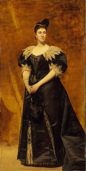 Portrait of Caroline Webster Schermerhorn Astor, aka Mrs. Astor, by Carolus-Duran, which was placed prominently in her house. She would stand in front of it when receiving guests for receptions.