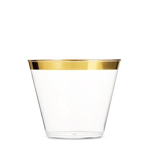 100 Gold Plastic Cups 9 Oz Clear Plastic Cups Old Fashioned Tumblers Gold Rimmed Cups Fancy Disposable Wedding Cups Elegant Party Cups With Gold Rim Lovely No In 2020 Disposable
