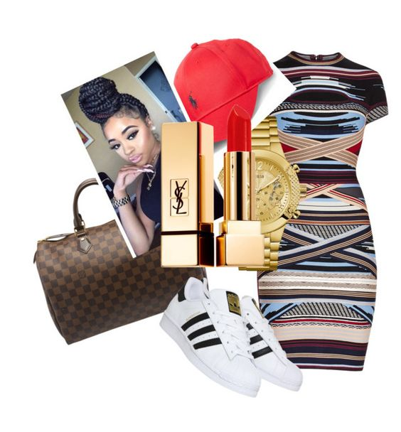 """""""OMG FASF😘👑👑👑👑"""" by ashantisowell ❤ liked on Polyvore featuring Hervé Léger, Louis Vuitton, GUESS, Polo Ralph Lauren, Yves Saint Laurent and adidas"""