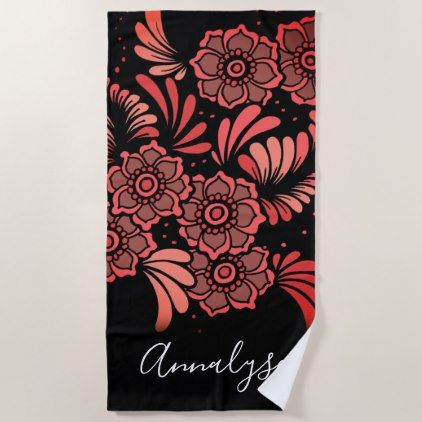 Black Red Pink Floral Pattern Girly Flowers Queen Beach Towel